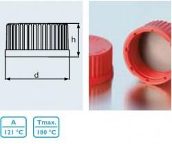 Duran Group - Lab. Şişesi İçin,kırmızı,vidalı Teflon Kapak GL 32 10 Adet