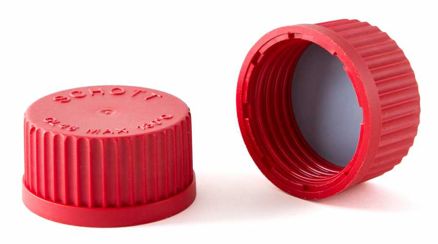 Lab. Şişesi İçin kırmızı vidalı Teflon Kapak GL25
