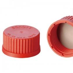 Schott Duran - Laboratuvar şişeleri için vidalı kırmızı Teflon Kapak GL18