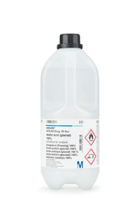 Asetik asit (glacial) %100 analiz için cam şişe 2,5 Litre