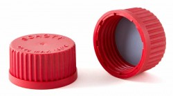 duran wheaton kimble - Lab. Şişesi İçin delikli, kırmızı, vidalı kapak GL18
