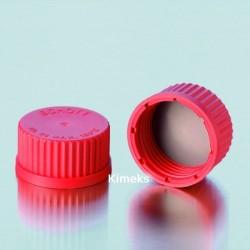 Schott Duran - Laboratuvar Şişesi için kırmızı vidalı teflon kapak GL45