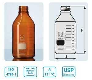 Laboratuvar Şişesi Kapaksız 250 ml AMBER